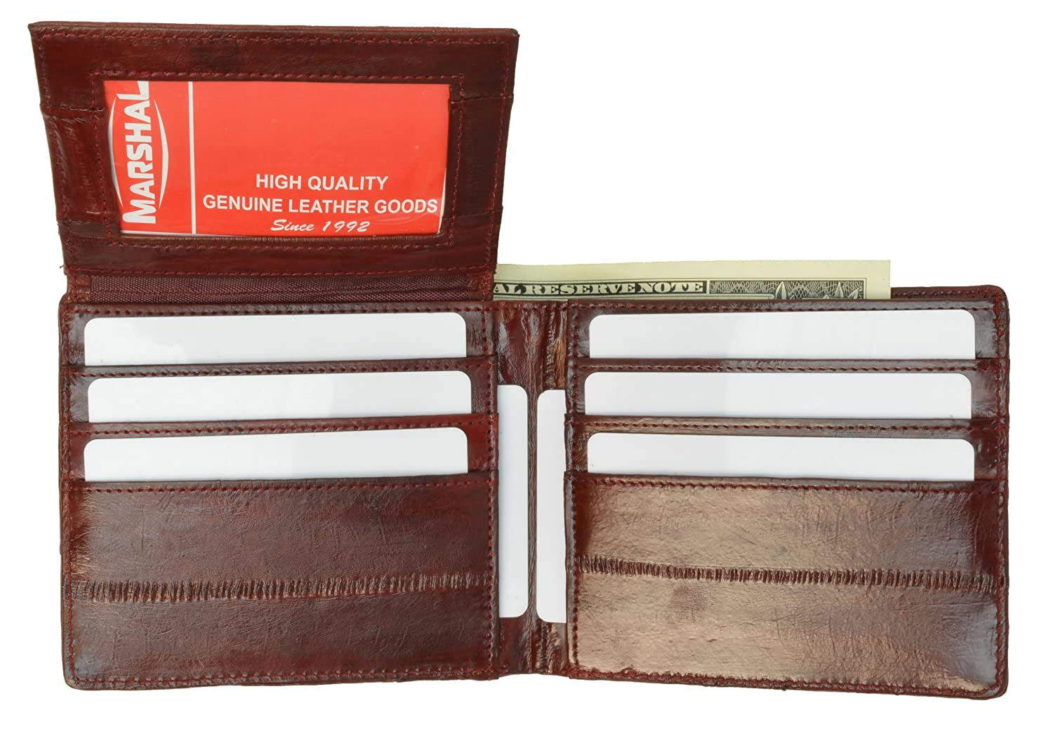 100%Genuine EEl Skin Bi-fold Mens Wallet Burgundy #E316 Marshal E316-Burgandy
