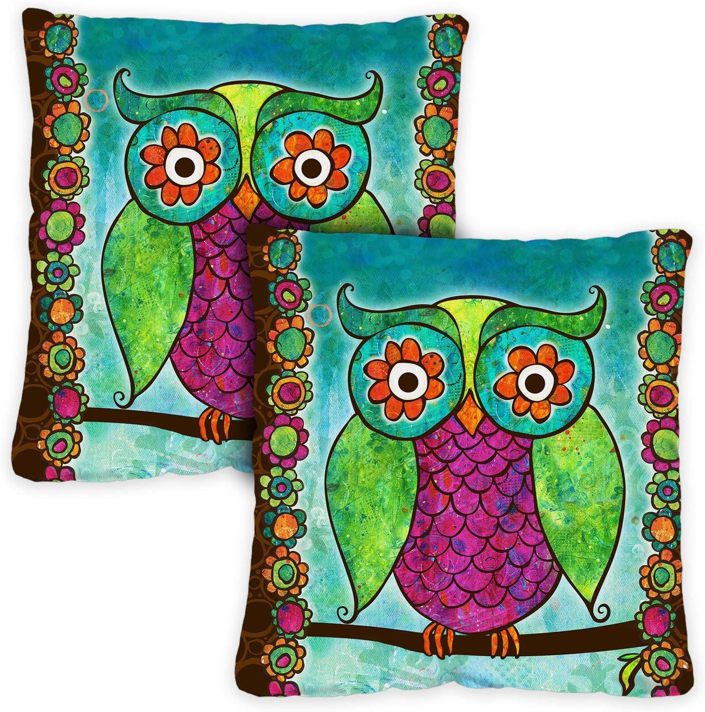 Toland Home Garden 721202 Rainbow Owl 18 x 18 Inch Indoor Outdoor, Pillow, Insert 2-Pack