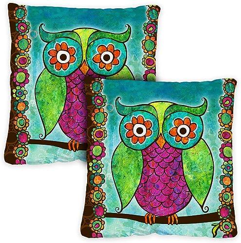 Toland Home Garden 721202 Rainbow Owl 18 x 18 Inch Indoor Outdoor, Pillow with Insert 2-Pack