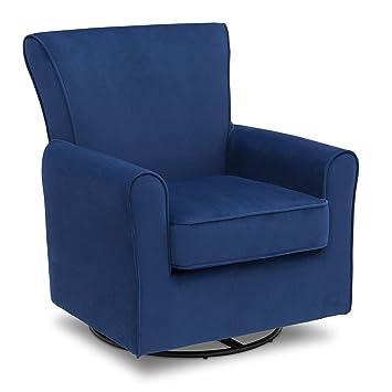 Delta Children Elena Nursery Glider Swivel Rocker Chair, Blue Velvet