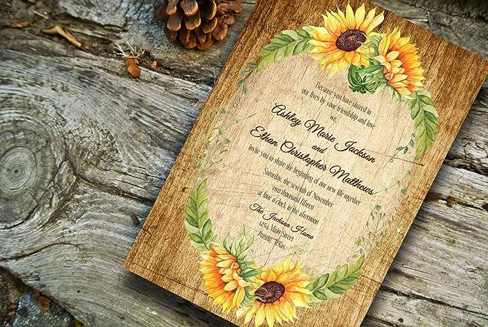 amazon com fall wedding invitations sunflower wedding invitations