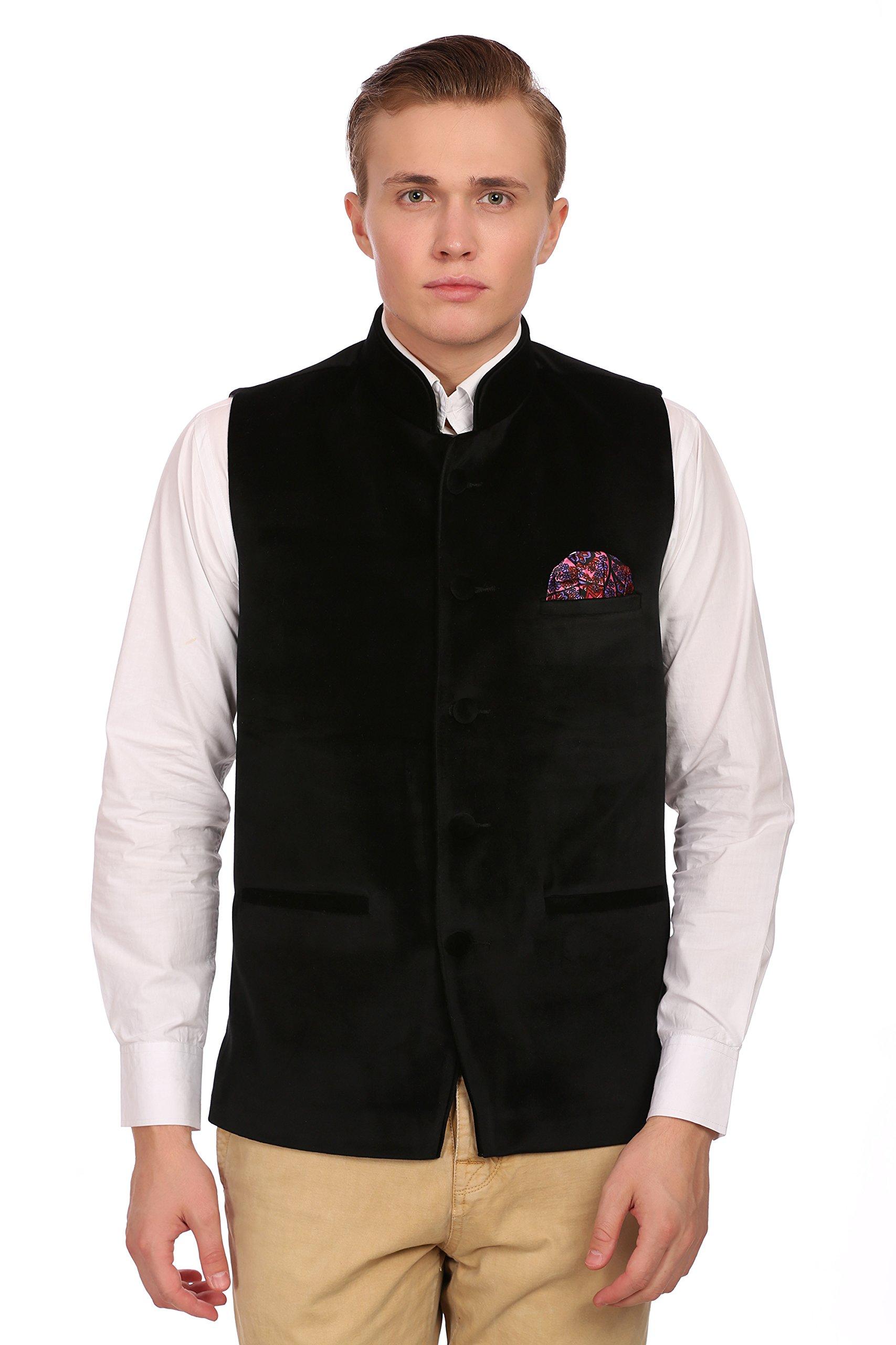 WINTAGE Men's Velvet Grandad Collar Party Black Nehru Vest Waistcoat,52/5XL