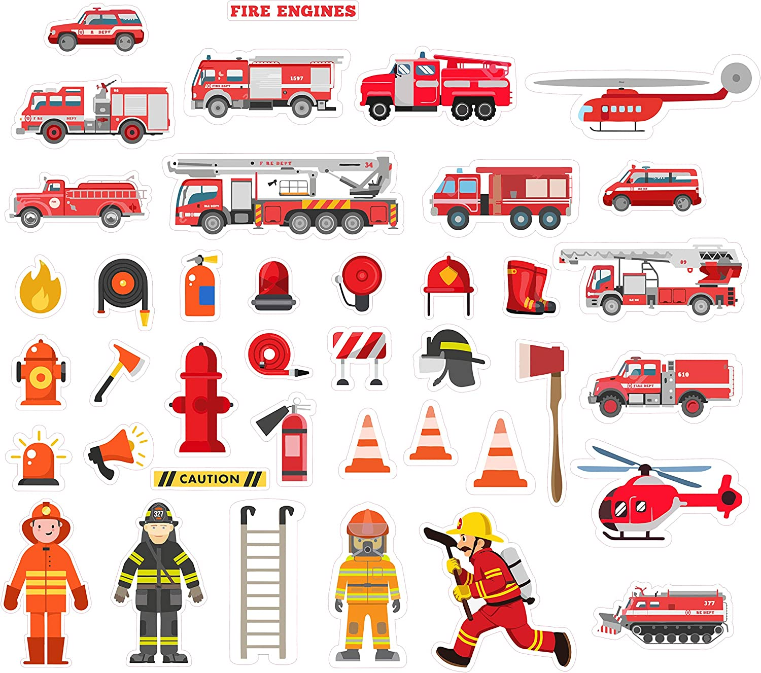 H2 Studio Firefighter Stickers for Kids, Brave Fireman Stickers & Fire Trucks for Boys Girls, Fire Engine Party Supplies, Cute Sticker Packs for Laptop, Notebook, Water Bottle, Teaching Board Pack 40