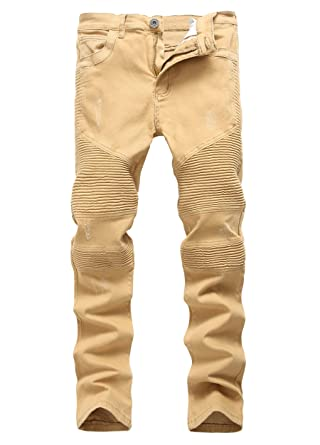 f33050fb036 Men's Straight Slim Fit Stretch Ribbed Panel Biker Jeans Camel Ripped Pants  28