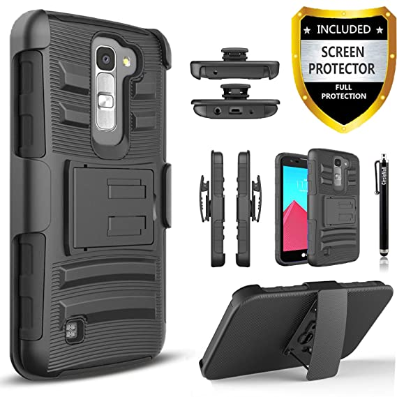 sports shoes ab5f9 4c0ff LG K10 Case, Combo Rugged Shell Cover Holster with Built-in Kickstand and  Holster Locking Belt Clip + Circle(TM) Stylus Touch Screen Pen And Screen  ...