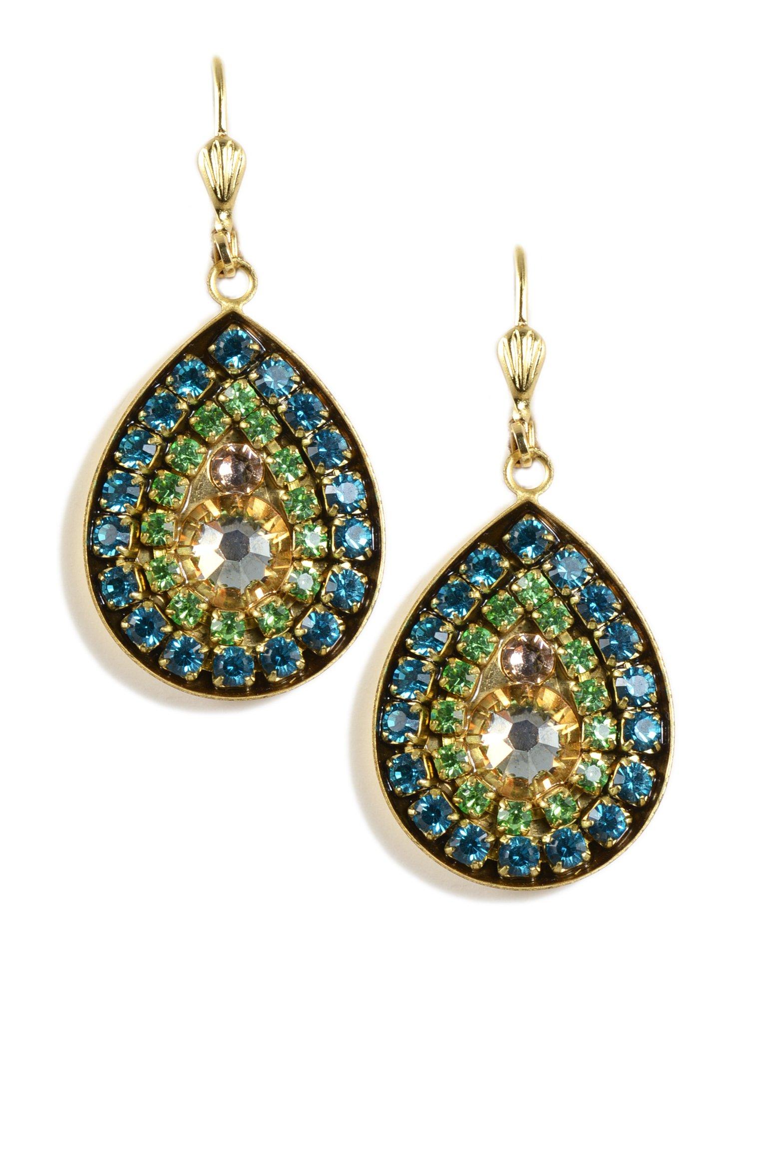 Clara Beau Blue Green Swarovski Glass Crystal TearDrop Mosaic Goldtone Earrings EAM159
