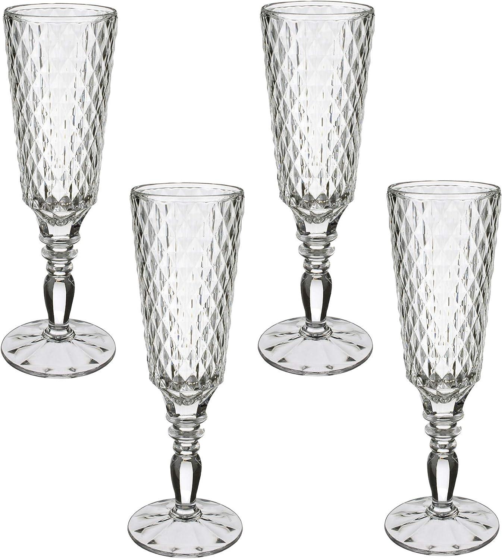 Villeroy /& Boch 11-7319-8110 Villeroy /& Boch-Boston Flare Lot de 4 verres /à vin rouge en cristal avec motif losanges extravagants Grande surface de rangement Passe au lave-vaisselle