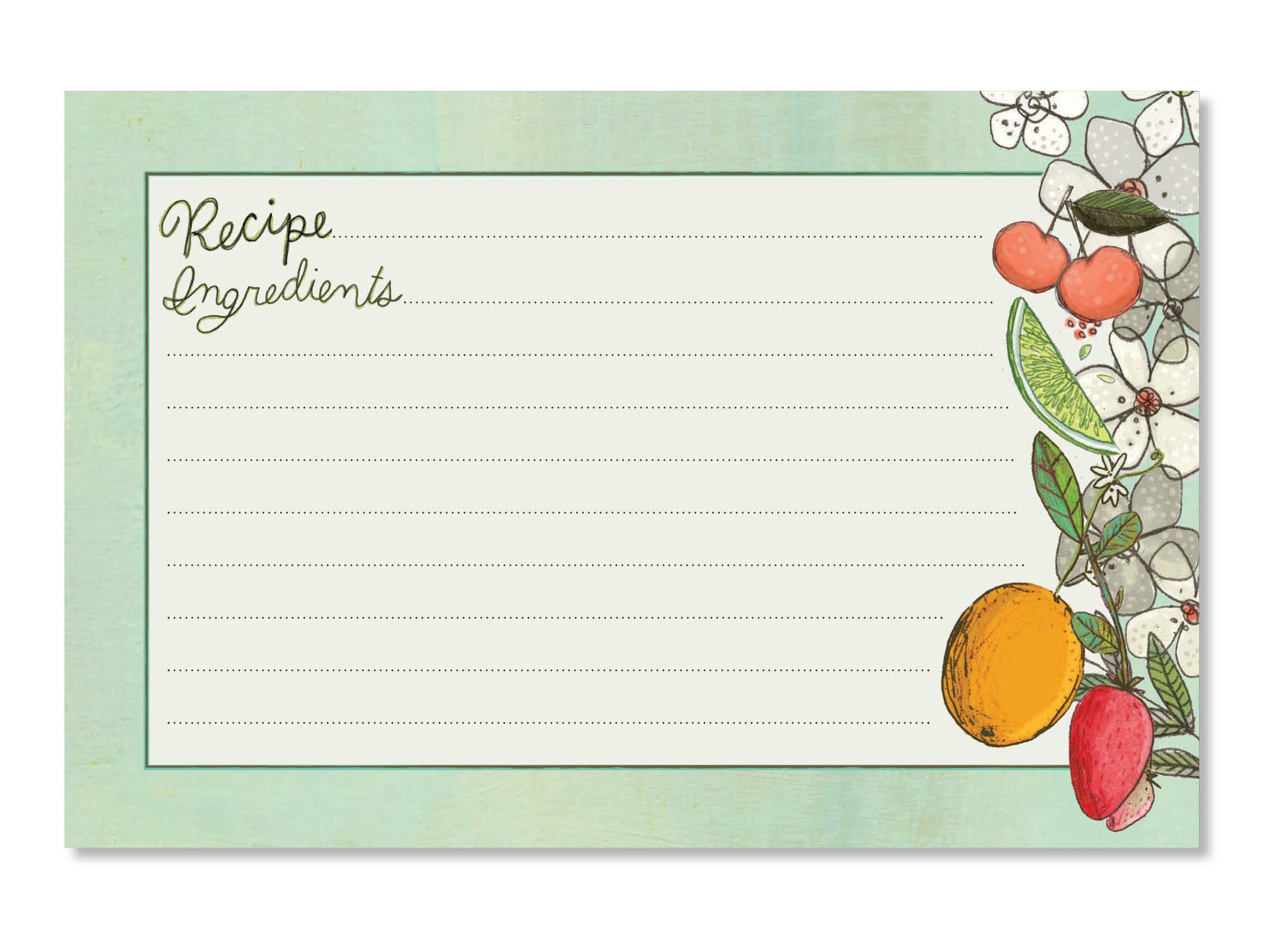 C.R. Gibson 40 Count Recipe Cards, Lined Back To Front, Cards Measure 4'' x 6'' - Fruit Fusion