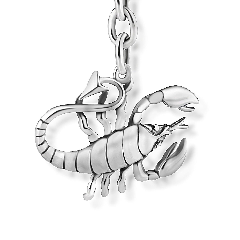 STERLL Homme Porte-clefs Signe du Zodiaque Scorpion Vrai Argent Oxidé Pochette à Bijoux Cadeau Precieux Pour Schiller Schmuck S170011