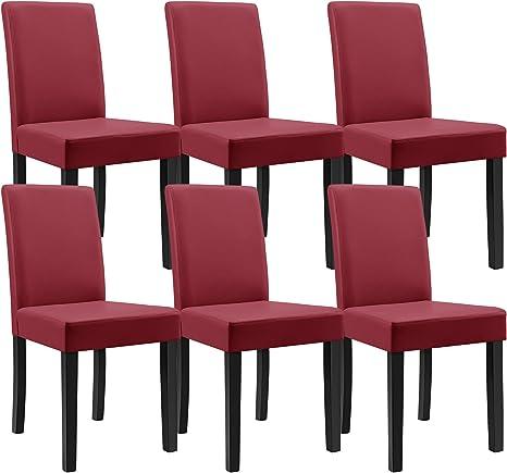 En Casa Tavolo Da Pranzo Antico Con 6 Sedie Rosso Scuro Similpelle Imbottite 140x90 Sala Da Pranzo Set Amazon It Casa E Cucina