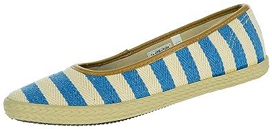 Beppi Damen Ballerinas    Elegante Flats   Flache Slipper Geschlossen    Sommerschuhe Schuhe Gestreift Blau d5612a0788