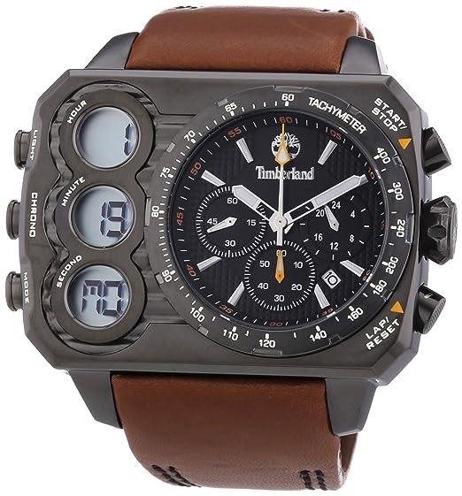 Timberland TBL.13673JSU/02 - Reloj analógico y digital de cuarzo para hombre con correa de piel, color marrón: Amazon.es: Relojes