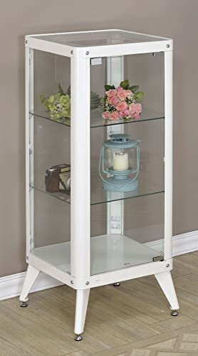 Furniture of America Essor Modern Glass Cabinet, Large, White