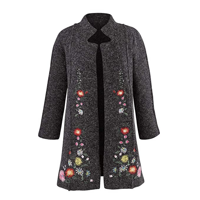 1920s Coats, Furs, Jackets and Capes History Rising International Womens Heidi Sweater Coat - Embroidered Floral Jacket $104.96 AT vintagedancer.com