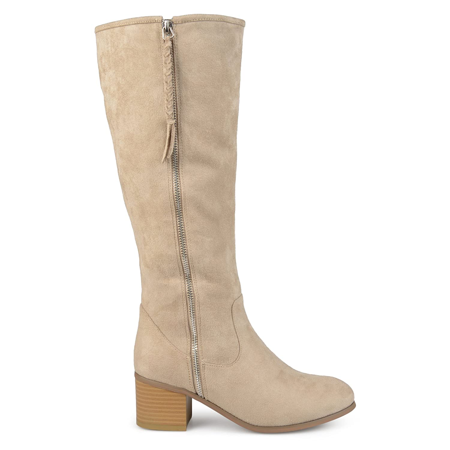40d6d9d97b5 Brinley Co. Womens Regular and Wide Calf Faux Suede Mid-Calf Stacked Wood  Heel Boots