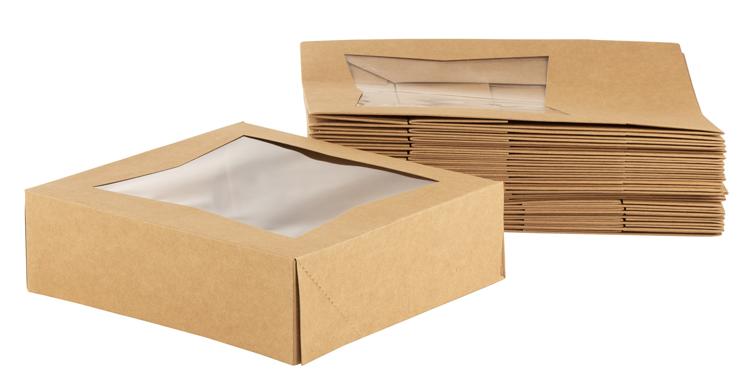 Kraft Paperboard Popup Window Box - Pack of 20 Brown Kraft Paperboard Pop-Up Window Box, Pastry & Cake Bakery Boxes with Plastic Window, 8 x 8 x 2.5 Inches
