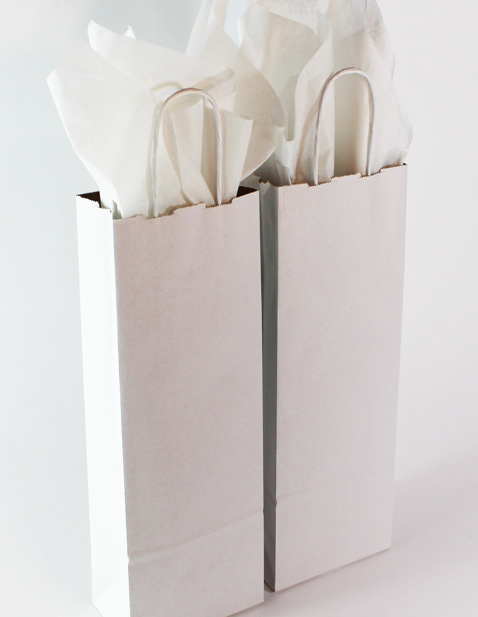 Kraft Paper Wine Bags with Handles & Tissue Paper, Bulk 50 Pack. Premium Quality, 100% Recycled, Eco-Friendly, Reusable. Made in USA.5½ x 3¼ x13 inches. White