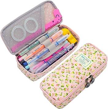 Girls Kids Pink /& Black Sparkly Glitter Pencil Pen Case School College or Home!