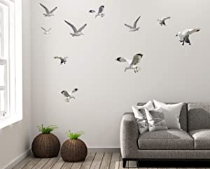 Seagull Wall Art Decor Decals Beach Scene Stickers Flock of Flying Birds Coastal Vinyl Living Rooms Bathroom Office Playroom Teen Girls Boys Toddler Peel & Stick
