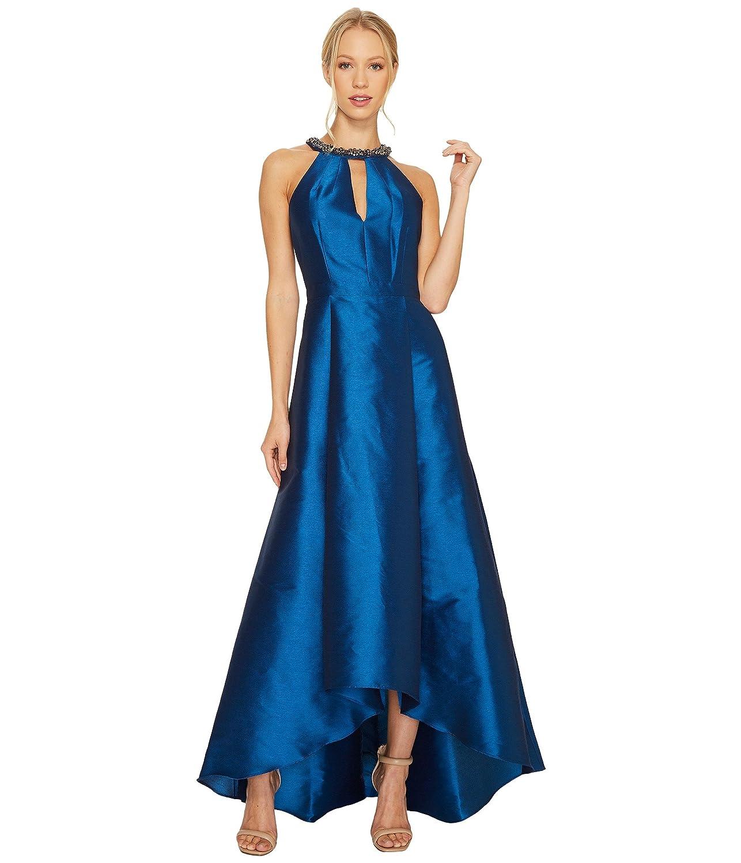 [アドリアナパペル] Adrianna Papell レディース Sleeveless Halter Gown with High-Low Hem and Beaded Necklace Detail ドレス [並行輸入品] B074XVGFDF 6|Peacock Peacock 6