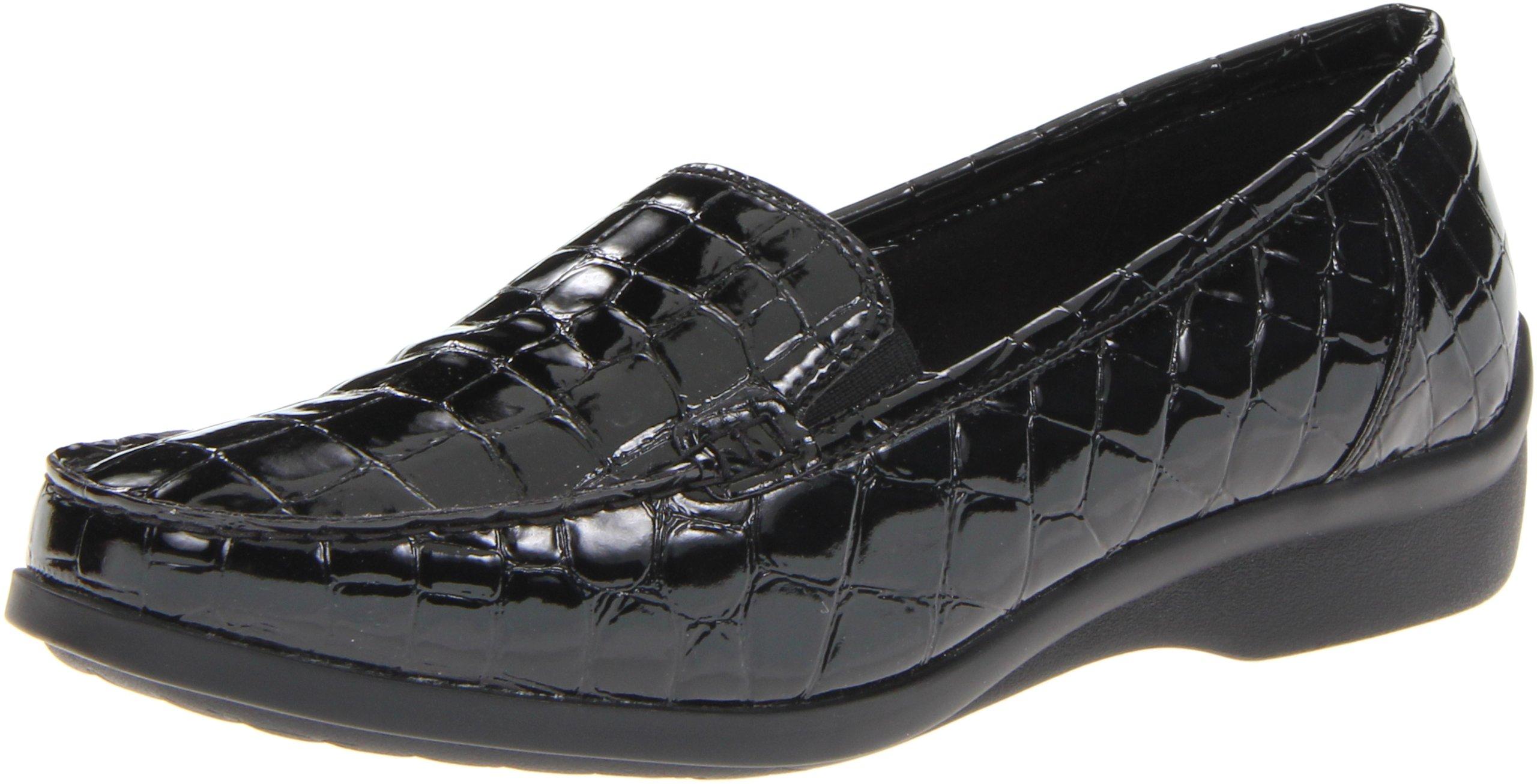Aravon Women's Whitney Flat, Black Croc, 9.5 B US