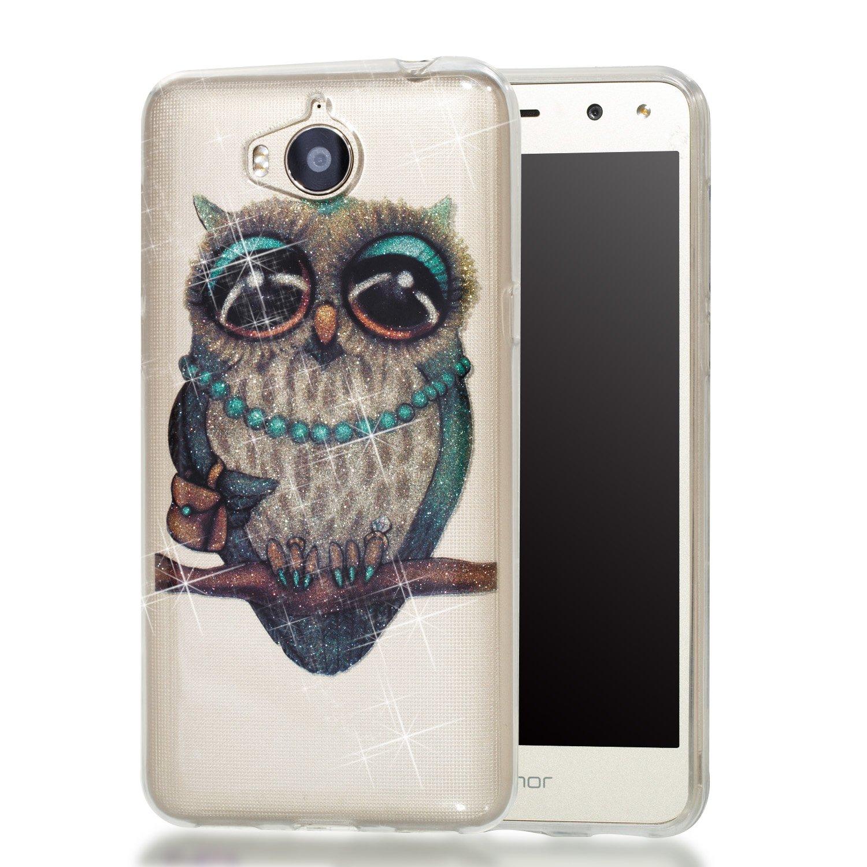 Qiaogle Té lé phone Coque - Soft TPU Silicone Housse Coque Etui Case Cover pour Huawei Y5 2017 / Y6 2017 (5.0 Pouce) - YB70 / Mlle Hibou