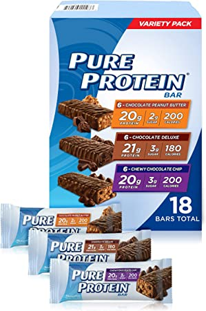 Pure Protein Bar Variety Pack (6 Chocolate Peanut Butter, 6 Chewy Chocolate Chip, 6 Chocolate Deluxe), (18 Count of 1.76 Oz bars) from Pure Protein by Pure Protein: Amazon.es: Salud y cuidado personal
