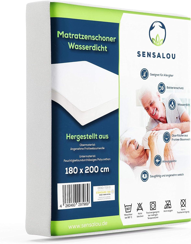 Sensalou Coprimaterasso impermeabile per incontinenza bianco Cotone 90 x 200 cm