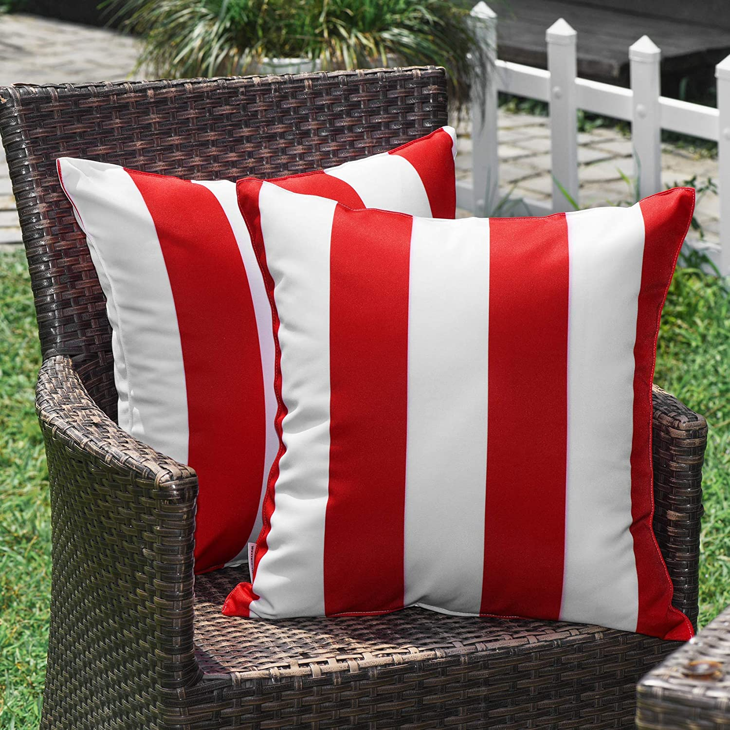 WESTERN HOME WH Outdoor Pillow Covers 18x18 Waterproof, Stripe Square Pillowcases Patio Christmas Throw Pillow Covers Cushions for Couch Bench Tent Garden - Pack of 2 Pillow Covers Red