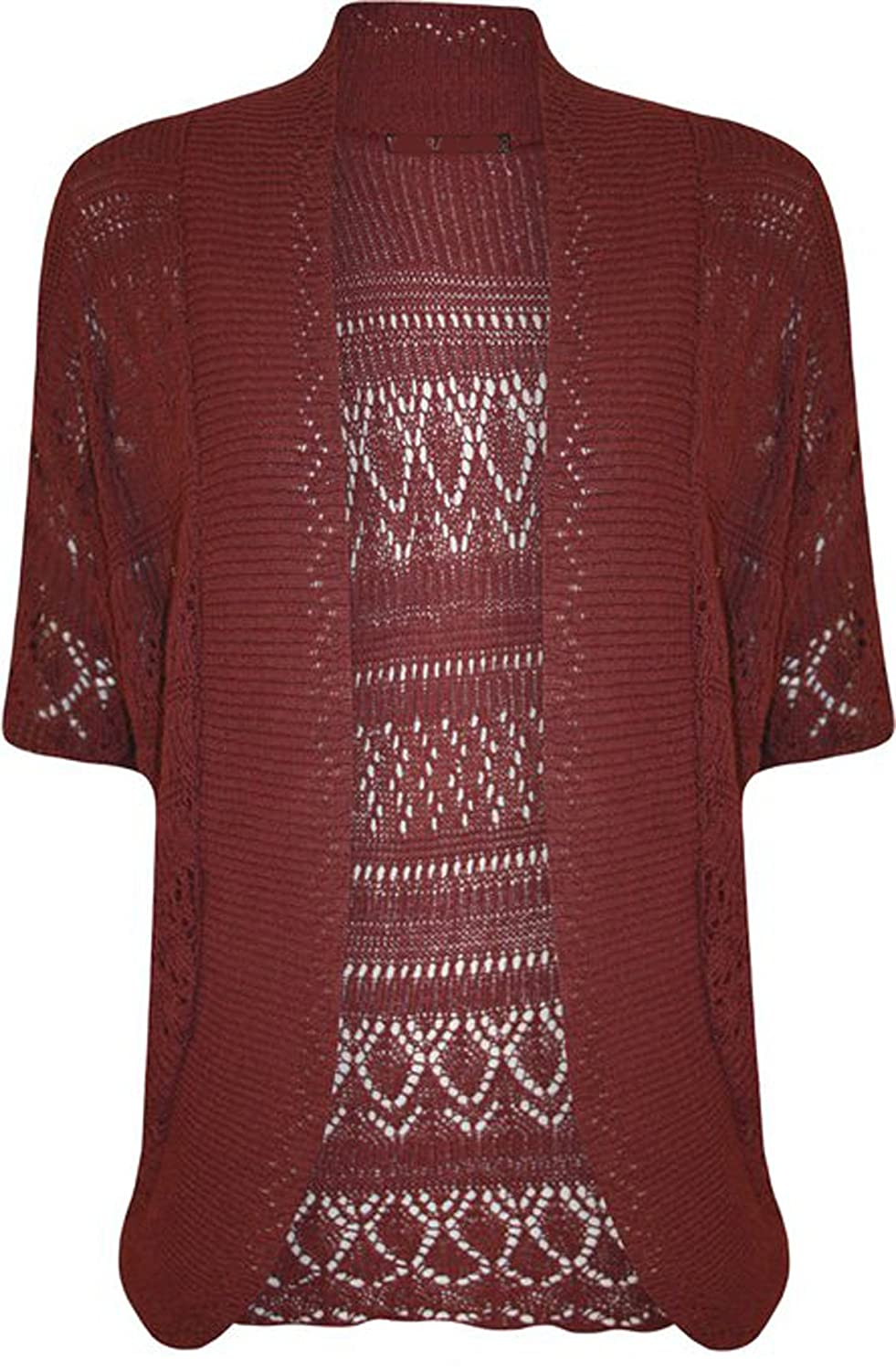 FashionMark Women's Plus Size Crochet Knitted Cardigan Shrug