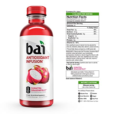 Bai Flavored Water, Rainforest Variety Pack, Antioxidant Infused Drinks, 18  Fluid Ounce Bottles, 12 count, 3