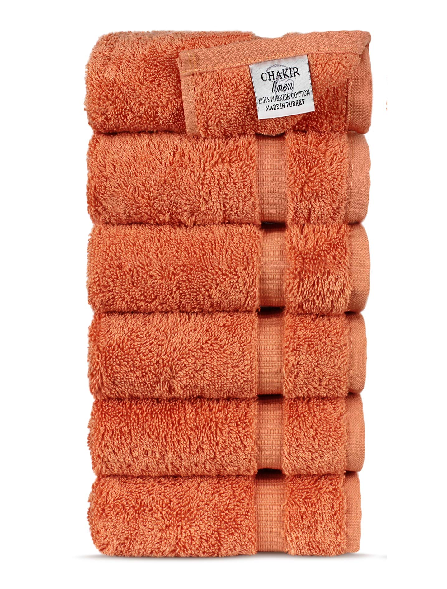 Chakir Turkish Linens Luxury Hotel & Spa Hand Towel Turkish Cotton, 16'' x 30'', Set of 6 (Coral)
