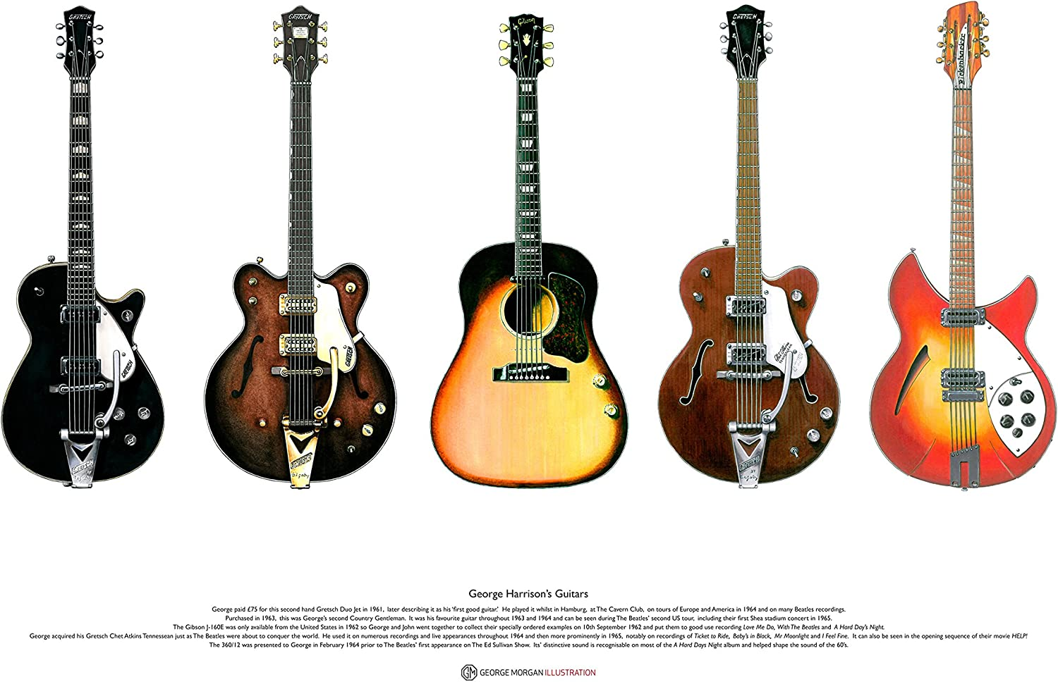 Guitarras de George Harrison - Arte Cartel tamaño A2: Amazon.es: Hogar