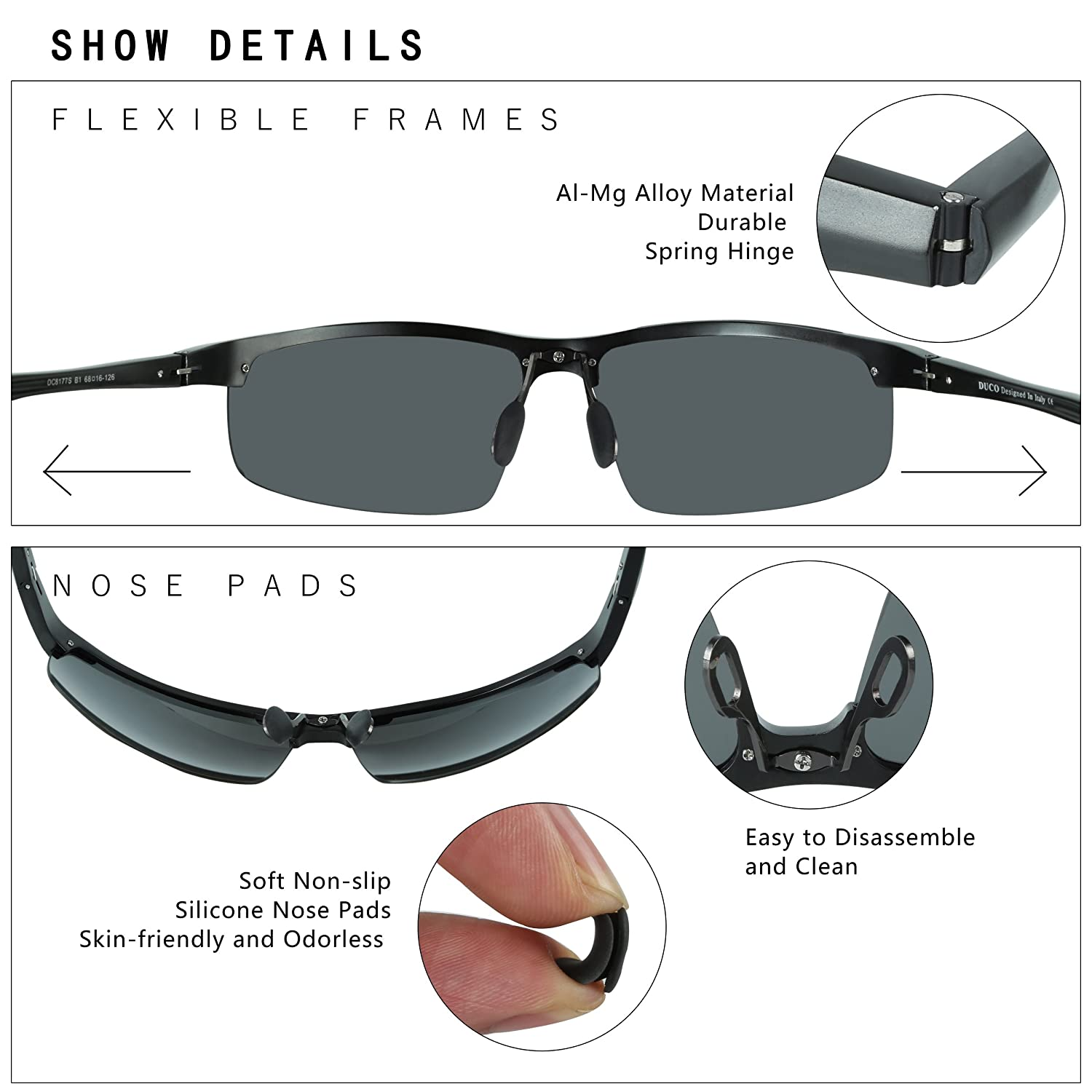 a46fcec8ca Amazon.com  DUCO Mens Sports Polarized Sunglasses UV Protection Sunglasses  for Men 8177s(Black Frame Gray Lens)  Sports   Outdoors