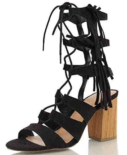 8fb274960b0 Wild Diva Women s Susie 08 Open Toe Gladiator Lace Up Mid Calf Chunky Heels