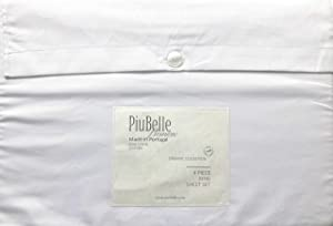 Piubelle Premiere Organic Collection Solid White Sheet Set Smooth Edge with a Double Hemstitch 100% Organic Cotton Luxury (King)