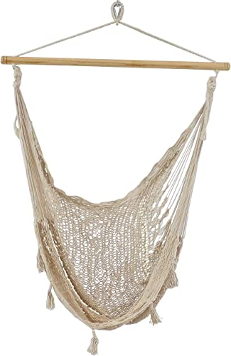 Sunnydaze Outdoor Mayan Hammock Chair – Extra Large Hanging Chair Swing with Lightweight Cotton Nylon Rope – 330 Pound Capacity – Natural