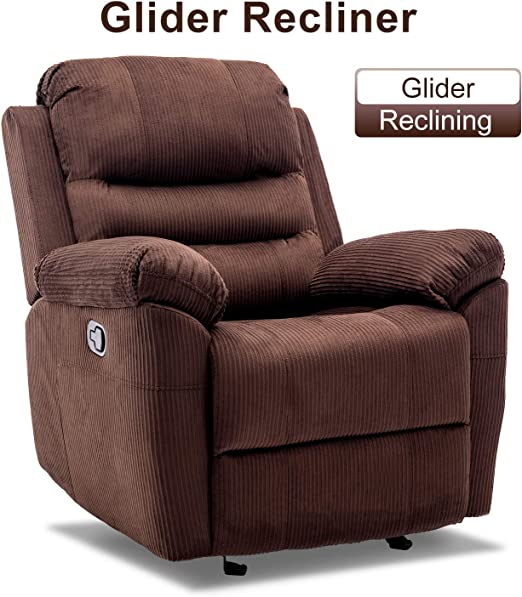 Bonzy Home Rocker Recliner Chair Velvet Fabric Manual Recliner Classic Chair Recliner Home Theater Seating Bedroom & Living Room Reclining