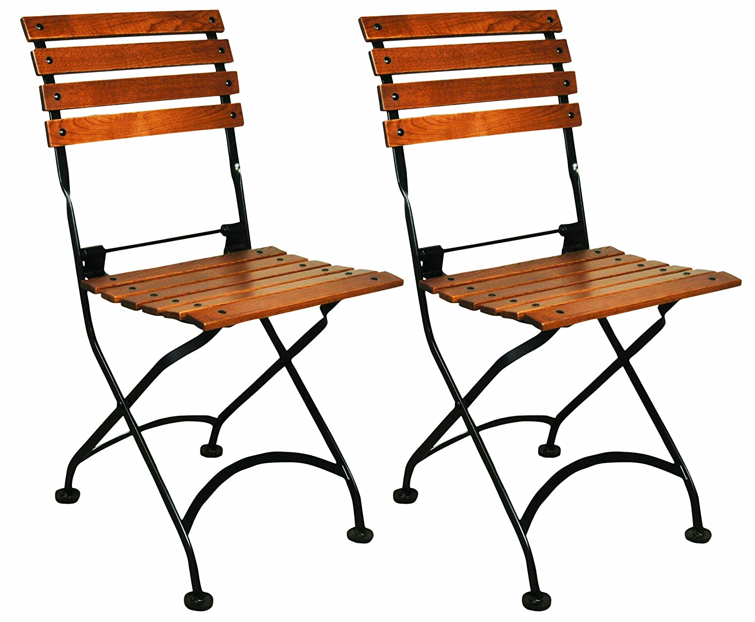 Mobel Designhaus French Caf Bistro Folding Side Chair, Jet Black Frame, European Chestnut Wood Slats with Walnut Stain Pack of 2