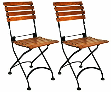 Awe Inspiring Mobel Designhaus French Cafe Bistro Folding Side Chair Jet Black Frame European Chestnut Wood Slats With Walnut Stain Pack Of 2 Caraccident5 Cool Chair Designs And Ideas Caraccident5Info