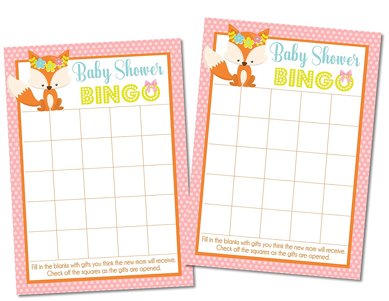 Woodland Fox Baby Shower Bingo Game Woodland Fox Baby Shower Supplies Woodland Fox Baby Shower Decorations Set of 20 Cards Girls Woodland Fox Baby Shower Bingo Game Cards