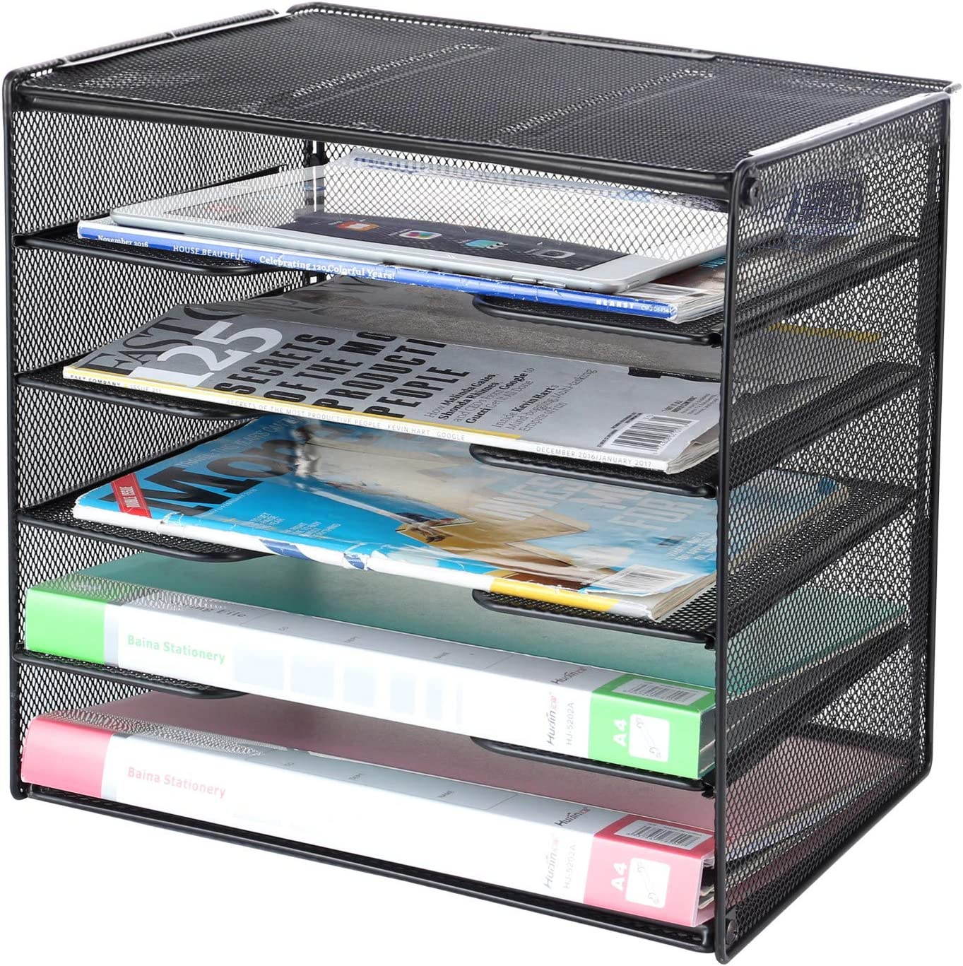 Samstar Paper Letter Tray, Mesh Desk File Organizer with 36 Tier Shelf and  Sorter, Black