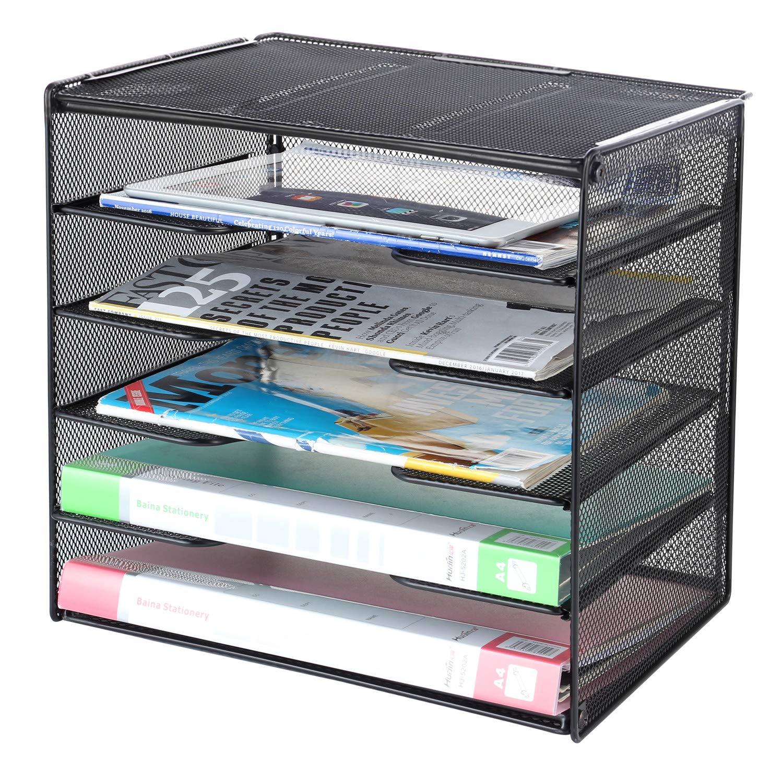 Silver Magazine Documents Papers Letter File Shelf Organizer Basket Rack Black