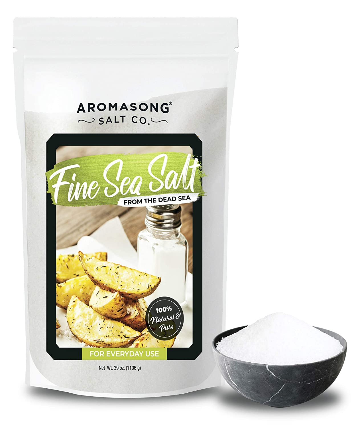 Aromasong Organic Sea Salt, - Fine Grain ( Table Salt ), Large Bulk RESEALABLE Bag of 2.43 LBS, 100% Pure & natural, Unrefined, Gluten Free, Sea Salt for Daily Cooking or to use as Pickling Salt