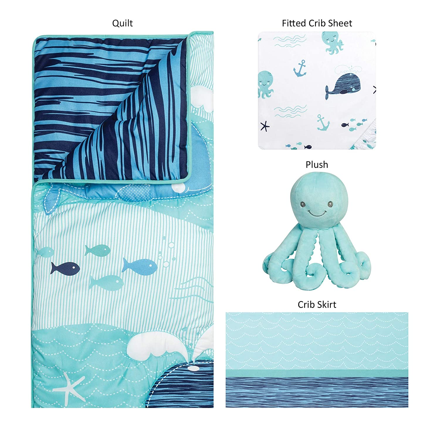 Nautical Adventure Sammy /& Lou 4 Piece Crib Bedding Set