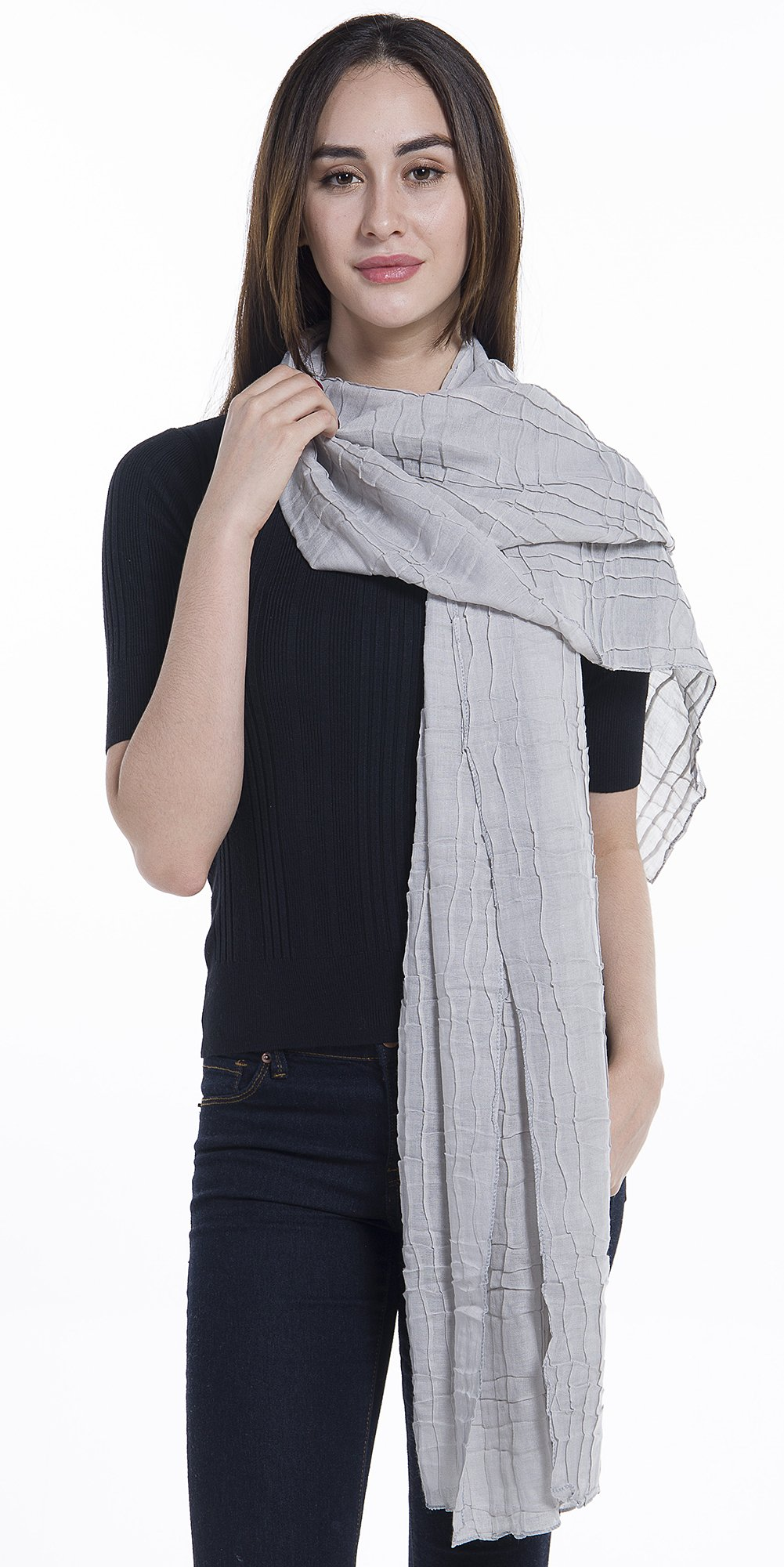 Light Weight Sheer Scarf - NiAiWei Women Extra Long Shawl Wrap for Winter, Solid Color Scarves by Niaiwei (Image #3)