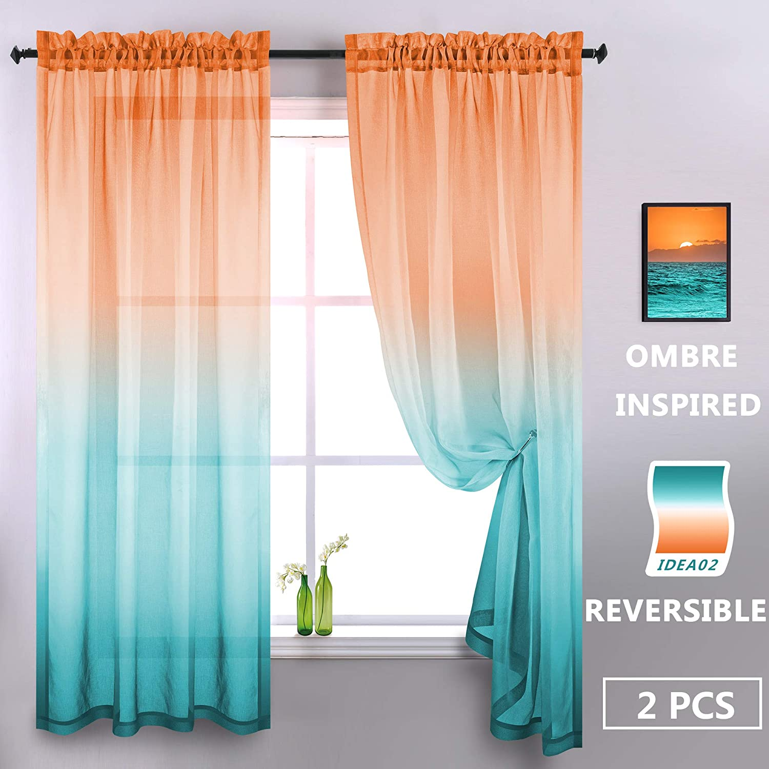 Orange and Green Sheer Curtains 84 Inch 2 Panels Modern Decorative Two Tone Window Semi Sheer Bright Color Ombre Curtains for Living Room Bedroom Coral Burnt Orange Yellow Mint Turquoise Peacock Teal