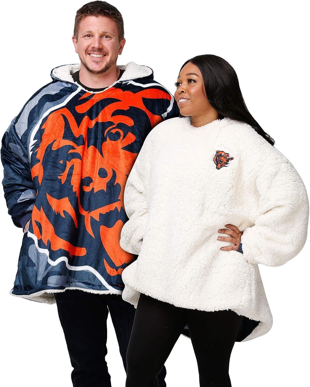 FOCO NFL unisex-adult Reversible Oversized Sherpa Hoodie Sweatshirt Colorblock Hoodeez