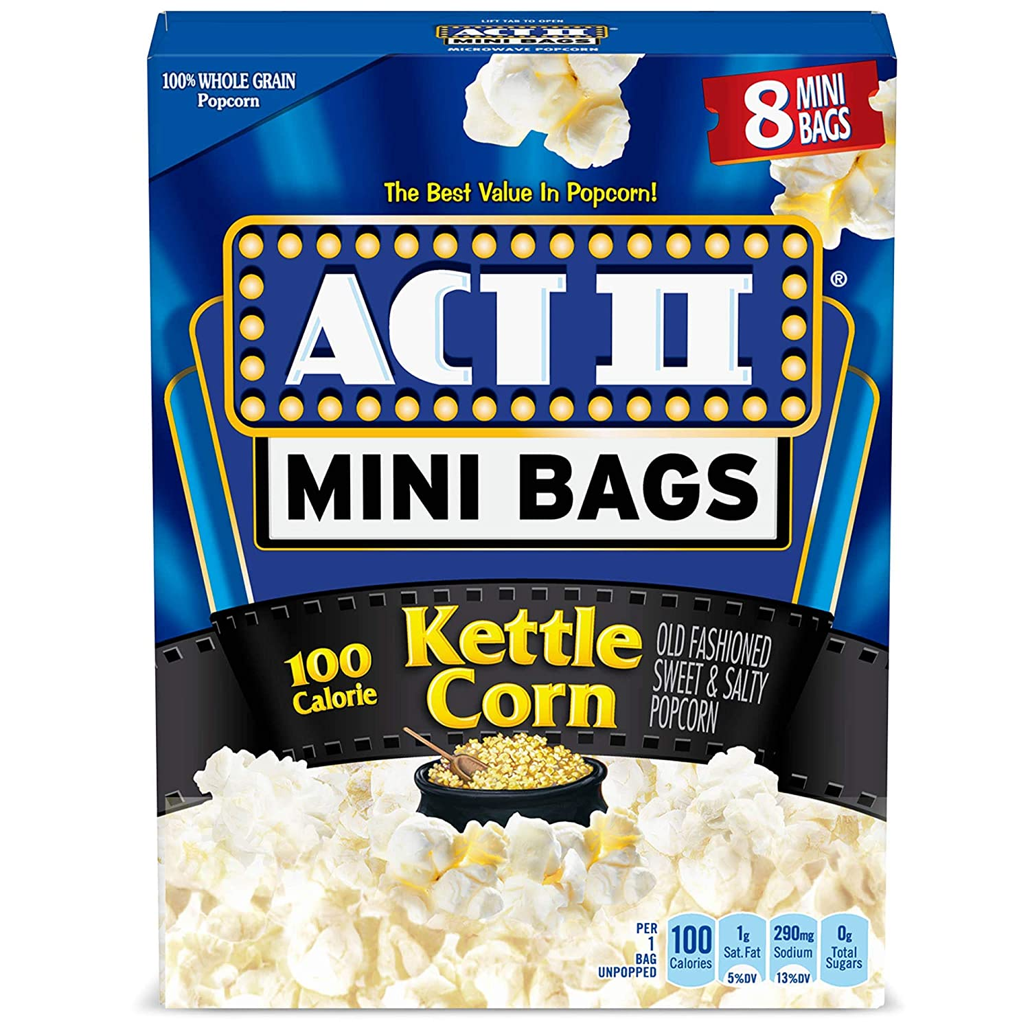 act ii 100 calorie kettle corn microwave popcorn mini bags 8 count pack of 6