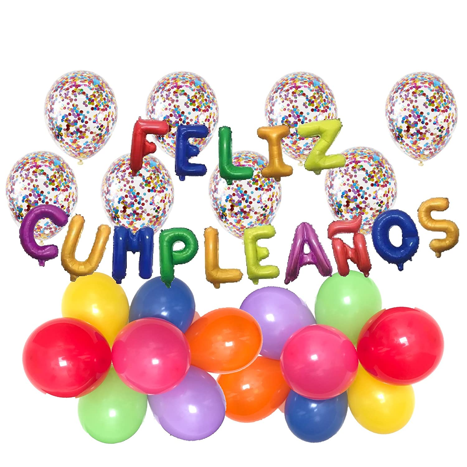Party Pack: Feliz CUMPLEAÑOS Letter Balloons | Includes: (20ct) 12